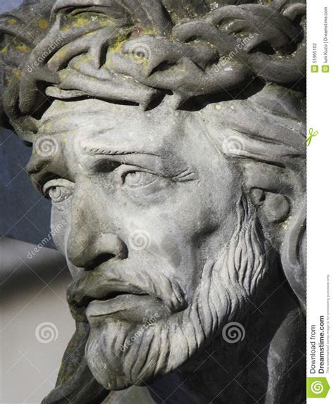 face of jesus christ crown of thorns statue stock photo