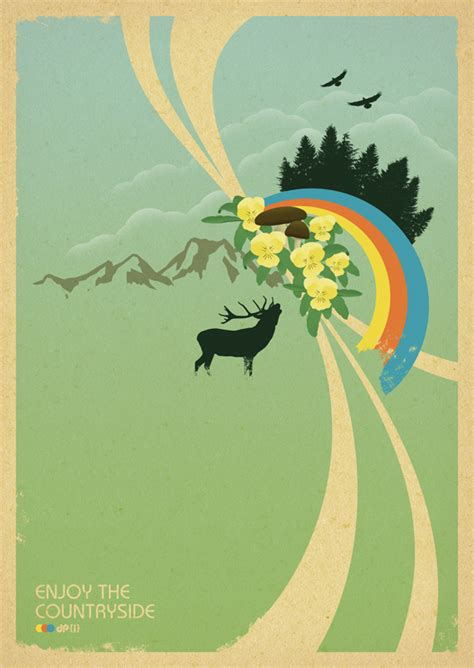design art poster enjoy the countryside retro poster design by dirk