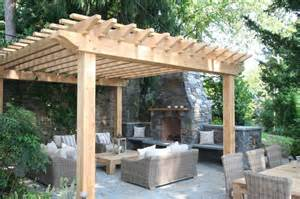 Fireplace patio pergola traditional patio