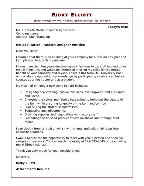 cover letter for fashion designer fashion cover letter sle