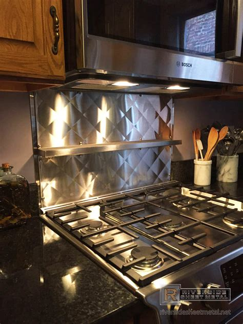quilted metal backsplash custom quilted back splash in stainless steel with shelf