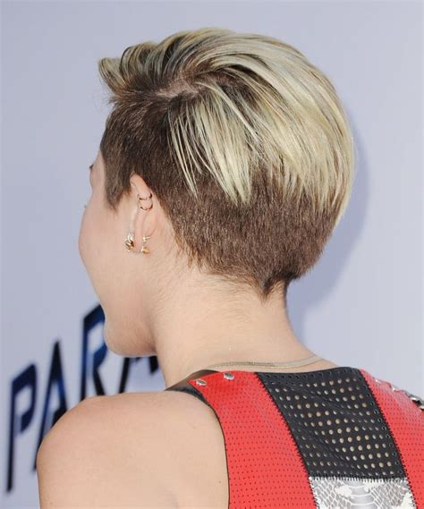 back views of shaved hair miley cyrus undercut back view hair pinterest