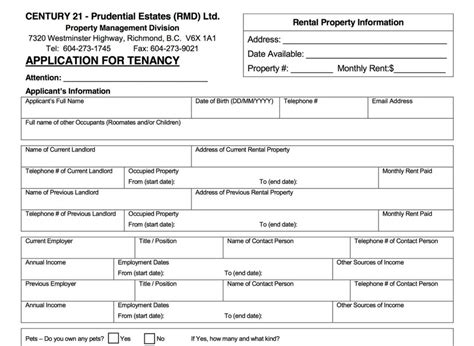 template rent application form template rental word for profile