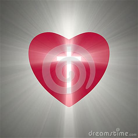 heart shape   shining cross  stock illustration