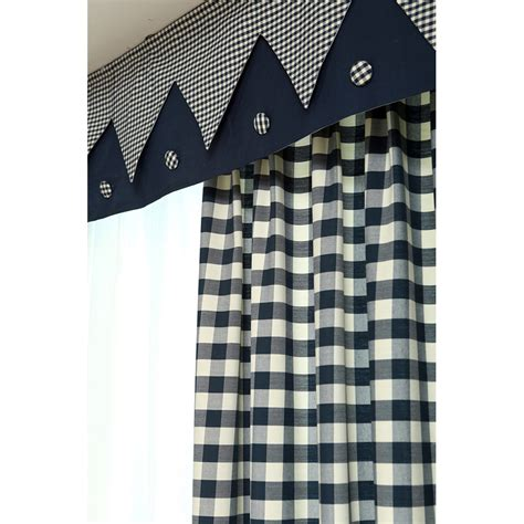 Navy Blue Plaid Curtains Navy Blue Plaid Print Linen Cotton Blend Bay Window