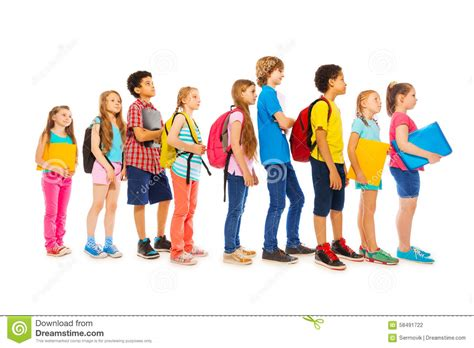 all the girls waiting in line for the bathroom school kids with backpacks and textbooks stock photo