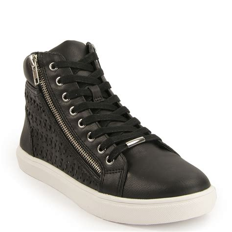 zipper sneakers steve madden elyka leather side zipper perforated athletic