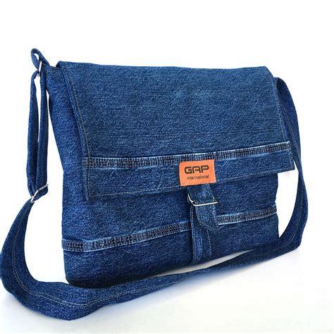 Denim Crossbody Bag recycled jean messenger bag large denim crossbody by sisoibags