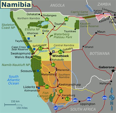 political map of namibia detailed political map of namibia with all cities and