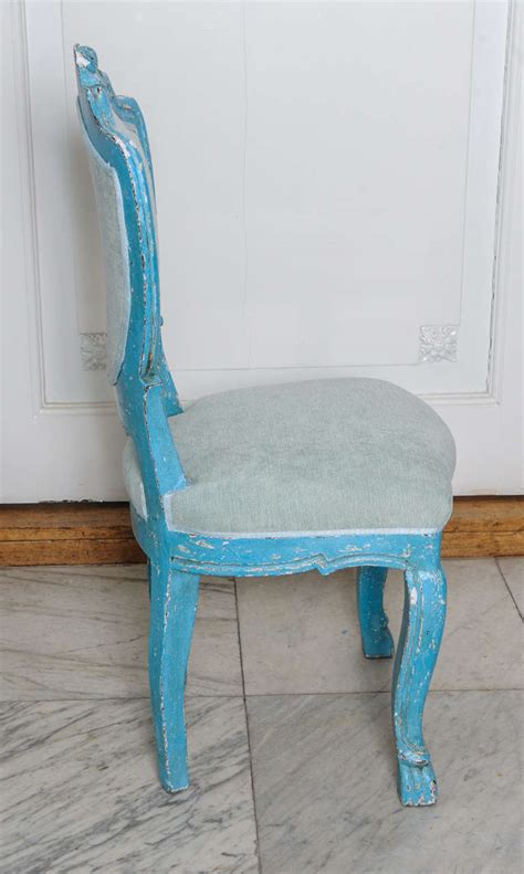 set of 6 antique dining chairs with azure blue patina for