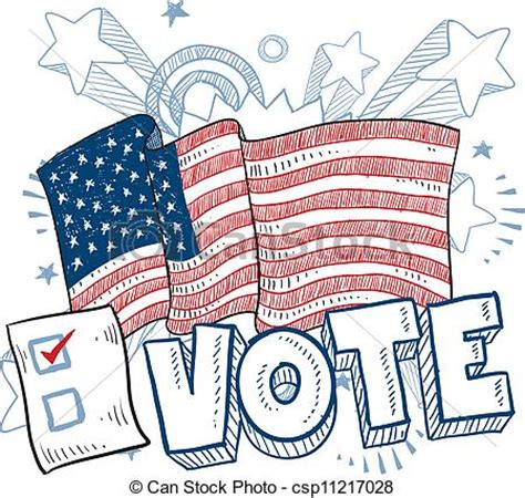 doodle for vote vector illustration of vote in american election sketch