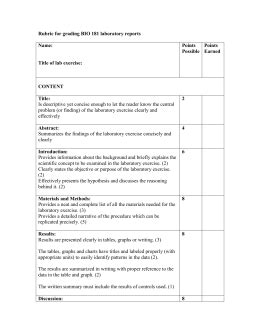 Lab Report Rubric College