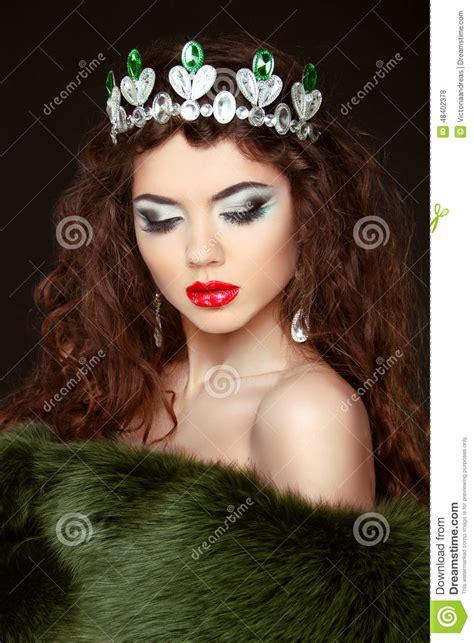 beauty fashion model girl  fur coat diamond jewelry