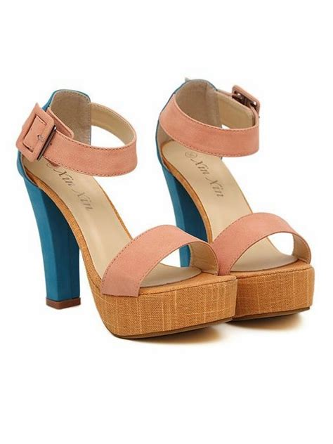 new trendy color matching high heel sandals