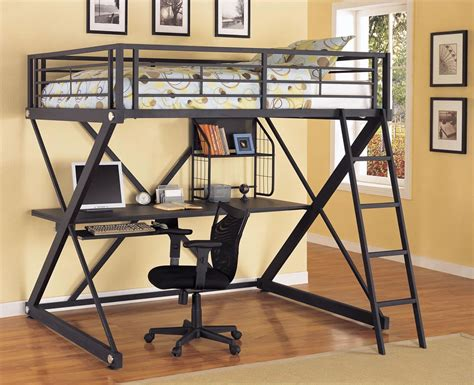 metal bunk bed with desk powell z bedroom full size metal loft bed with study desk
