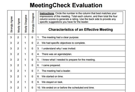 Meeting Evaluation Form Template by Free Post Meeting Evaluation Form Meeting