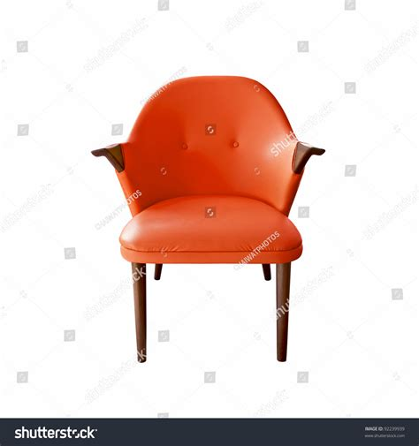 Orange Leather Armchair by Orange Leather Armchair On White Background Stock Photo