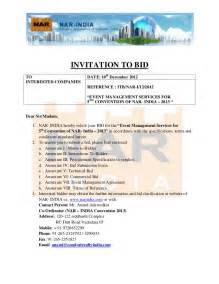 construction invitation to bid template invitation to bid for fifth convention of nar india