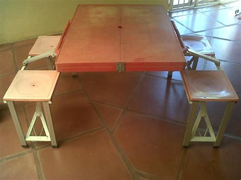 Portable Desk And Chair Combo by Plastic Portable Picnic Table And Chairs Fold Up Combo