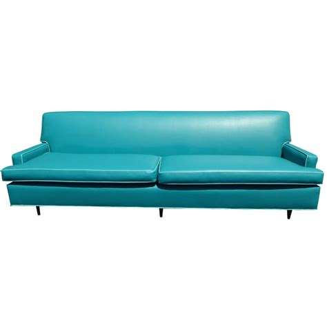 retro vinyl couch vintage mid century turquoise vinyl sofa everything