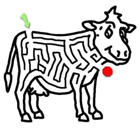 printable bowling maze cow coloring page with maze kindergarten pinterest
