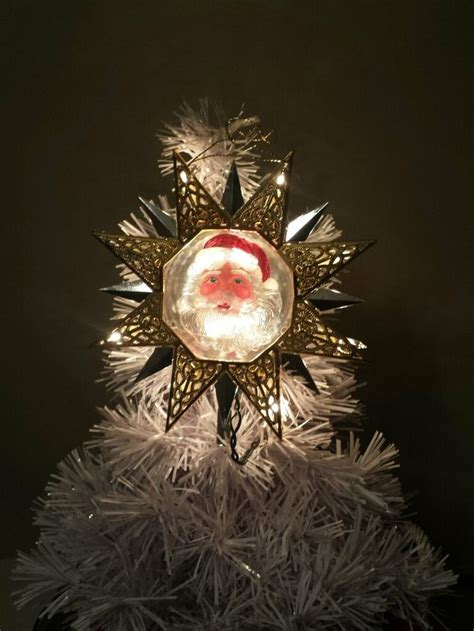 lighted santa star christmas tree topper retro