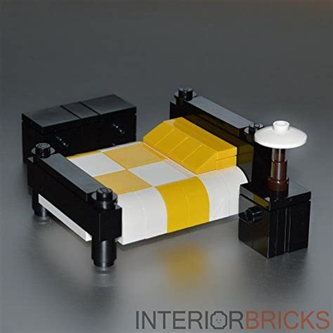 lego furniture checkered bed yellow white interior