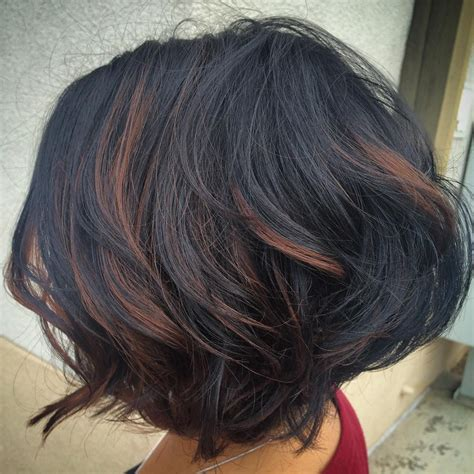 hairstyles with partial highlights wavy layered and textured bob with partial brown