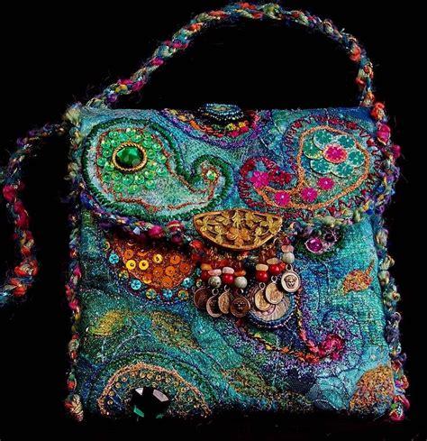 beadwork on fabric paisley bag fiber beautiful felt