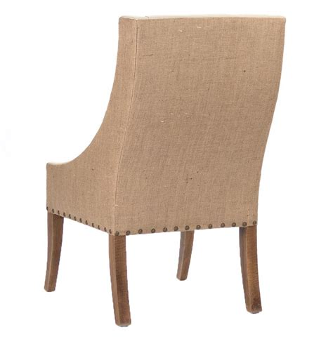 shipley country burlap two tone dining arm chair