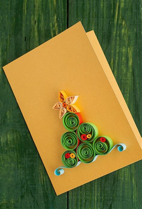 Handmade Quilling Greeting Cards - handmade quilled greeting card with cone tree