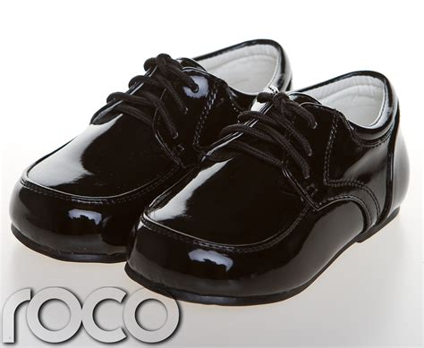childrens baby boys black shoes lace up wedding page boy
