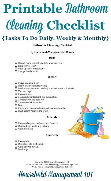 Shower Bath Tub bathroom cleaning checklist list for cleaning the