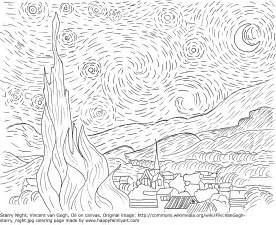 famous paintings gogh coloring pages