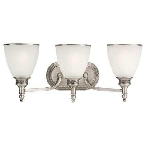 Sea Gull Vanity Lighting Sea Gull Lighting Laurel Leaf 3 Light Antique Brushed Nickel Vanity Light 44351 965 The Home Depot