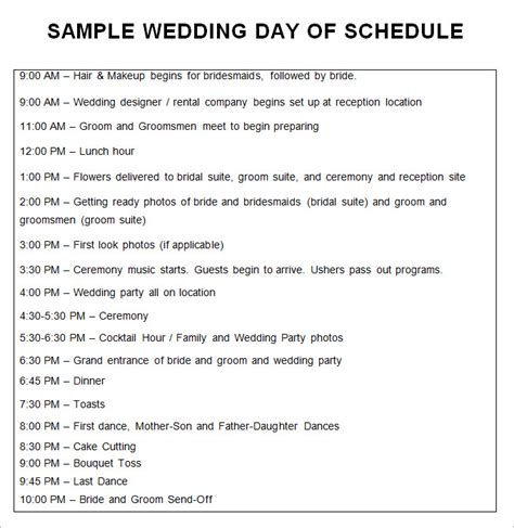 wedding day of itinerary template wedding schedule templates 29 free word excel pdf
