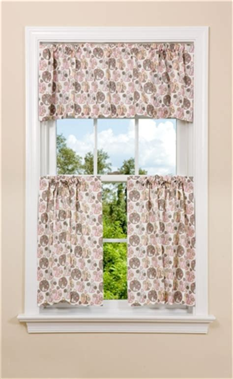 pink floral kitchen curtain panel