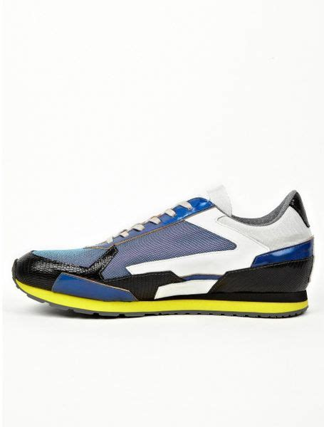 raf simons shoes blue raf simons mens panelled running sneakers in blue for lyst