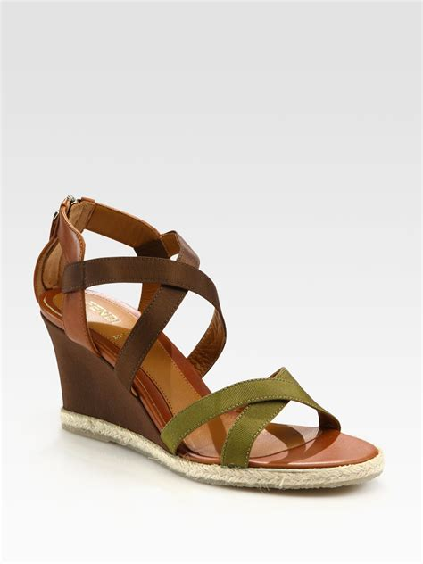 ribbon sandals fendi leather and grosgrain ribbon wedge sandals in green