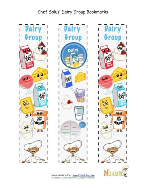 free printable nutrition bookmarks bookmark food group dairy chef solus activity