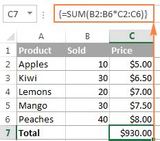 excel 2010 array formula tutorial microsoft excel array formulas exles sum a range with