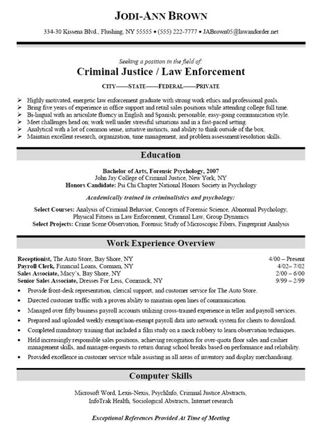 criminal justice resume templates resume sle for criminal justice enforcement graduate