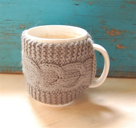 knit coffee mug cozy pattern knit coffee mug cozy with cable pattern from maruwool on etsy