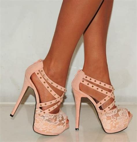 pretty high heel shoes pictures pink heels studded with lace pictures photos and images