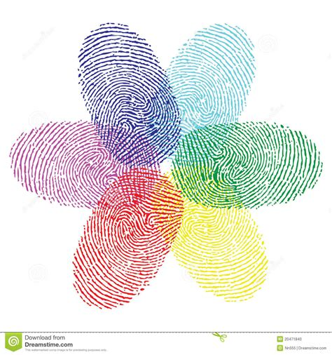 finger color color fingerprint flower stock vector illustration of