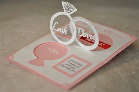 wedding ring pop up card template wedding invitation linked rings pop up card template