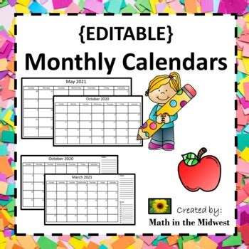 editable monthly calendars   lifetime updates  math   midwest
