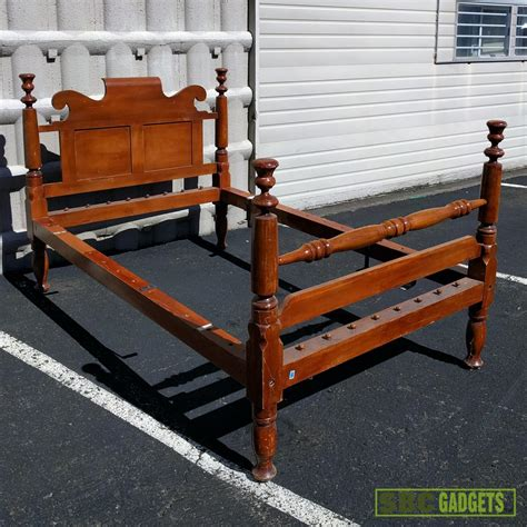 Solid Wood Bed Frame Ebay Antique Vintage Real Solid Wood Full Size Bed Frame Ebay