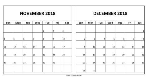 printable calendar november 2017 to december 2018 calendar 2018 november december happyeasterfrom com