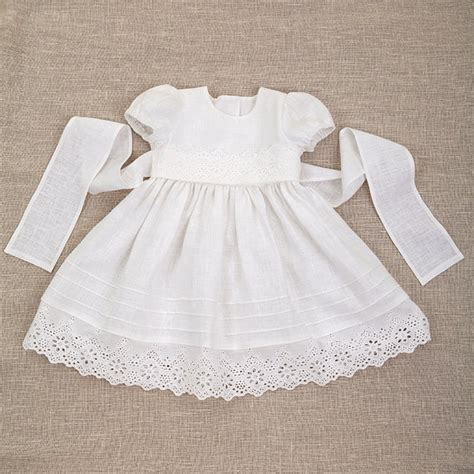 white baby dress baby baptism linen dress heirloom gown special